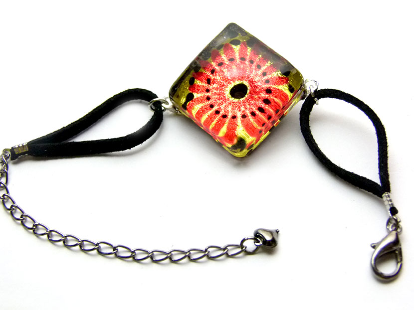 Bracelet verre carré lotus orange