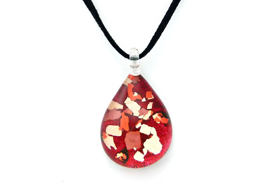 Glass pendant water drop shape flakes of colors